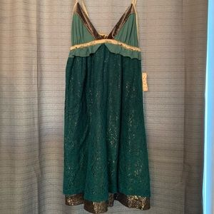 Free people dark teal mini dress